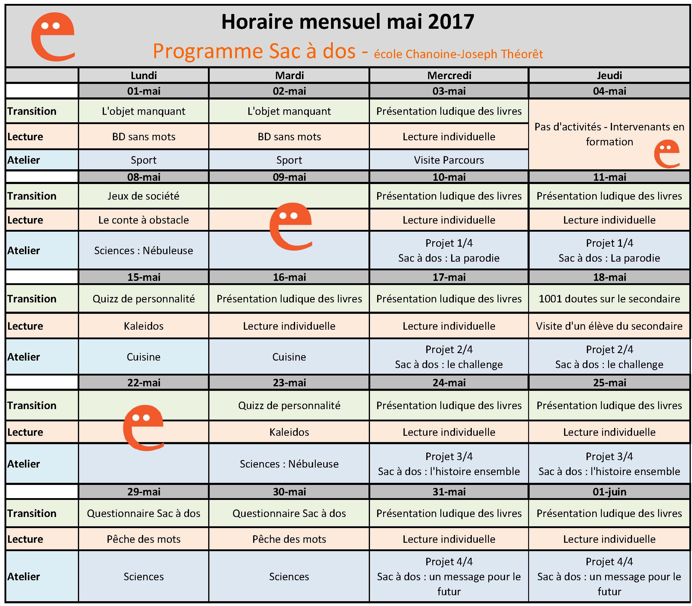 Horaire mensuel mai 2017 - Chanoine-Joseph-Théorêt - Programme Sac à dos