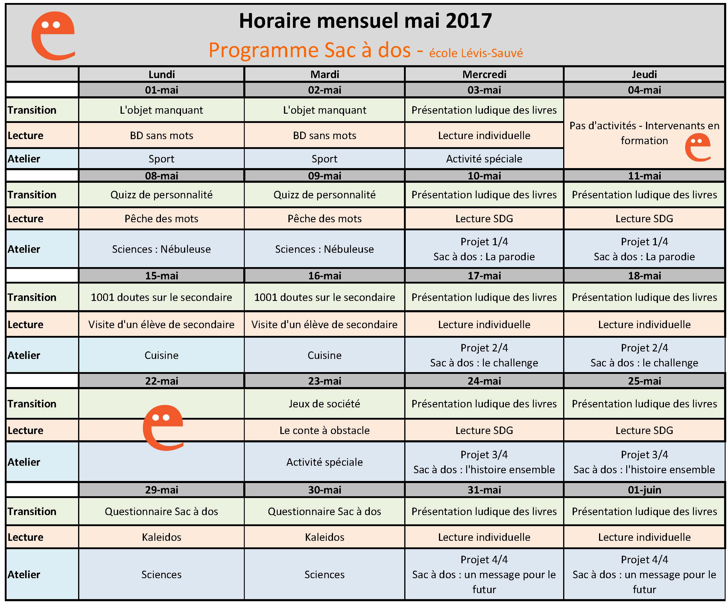 Horaire mensuel mai 2017 - Lévis-Sauvé - Programme Sac à dos