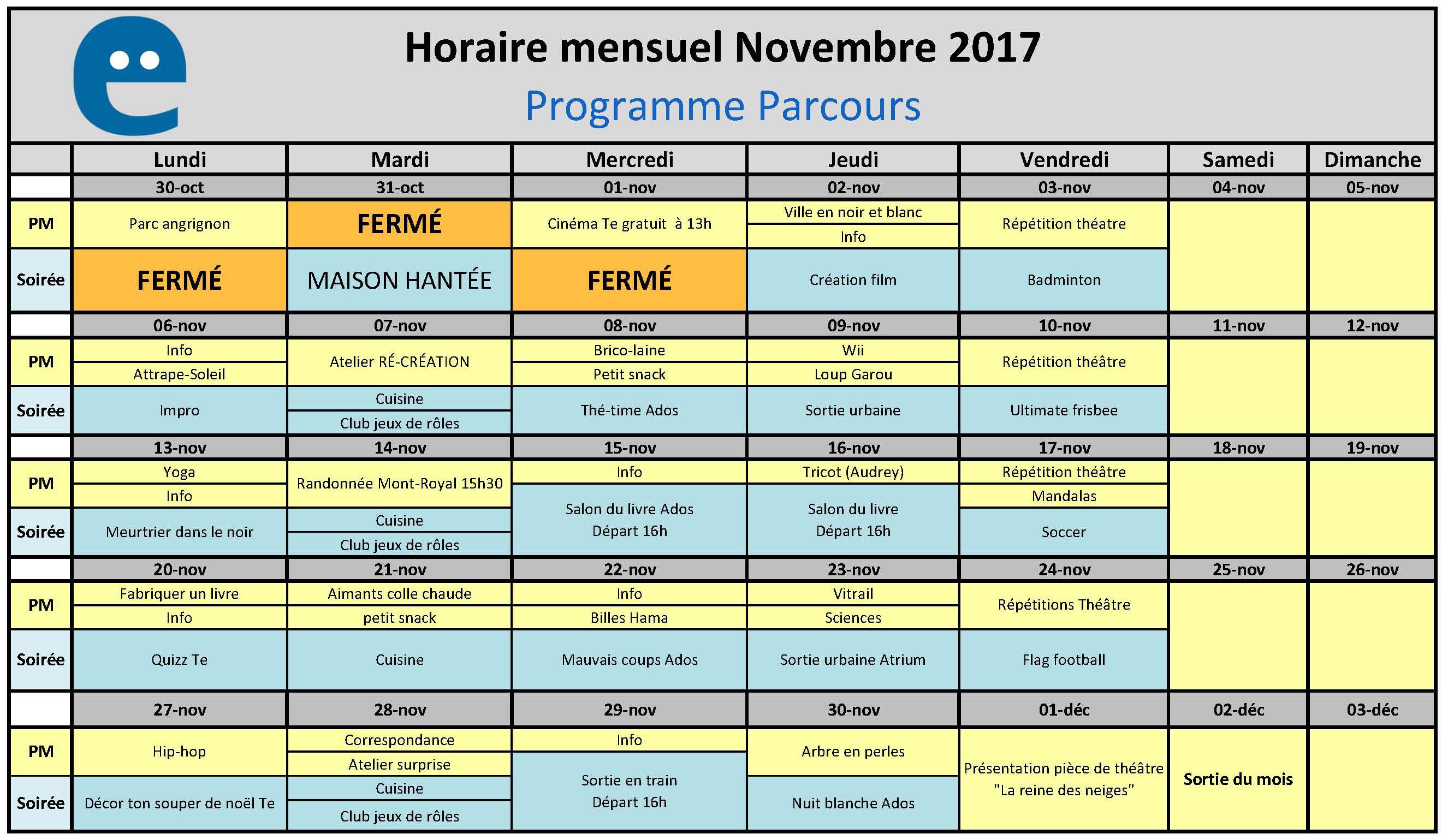 Horaire mensuel mai 2017 - Programme Parcours