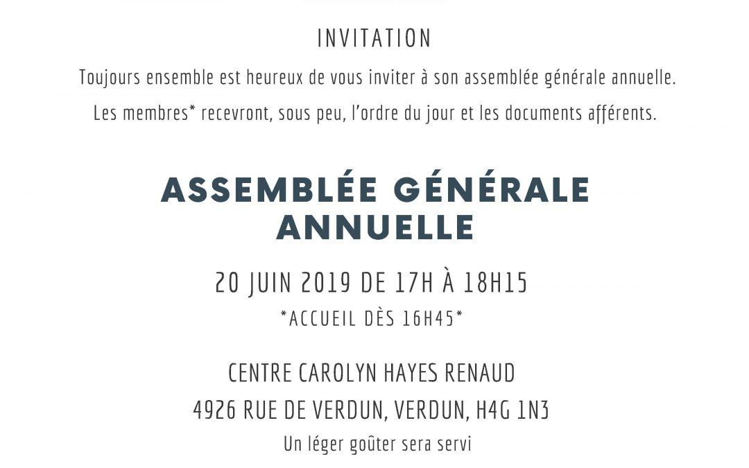 Assemblée générale annuelle de Toujours ensemble